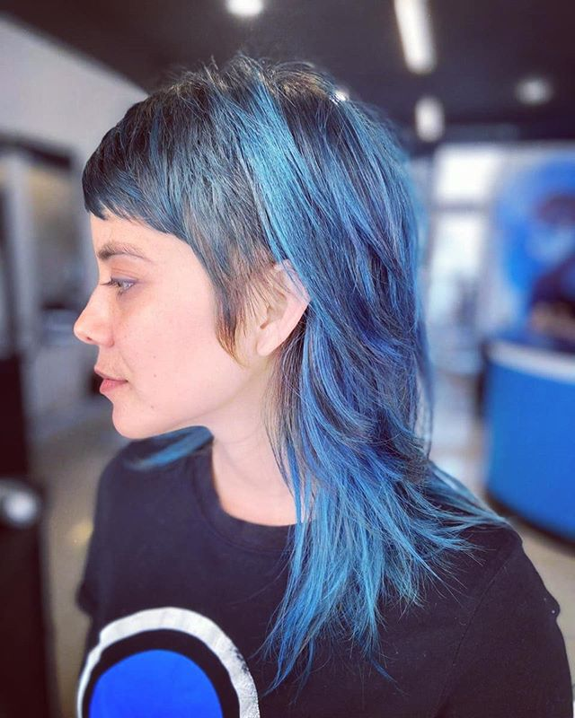 Edgy Modern Mullet with Blue Highlights and Fringe