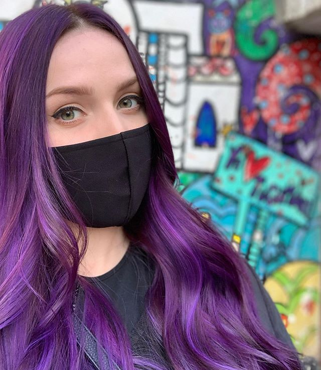 Glossy Purple Middle Parted Hairstyle