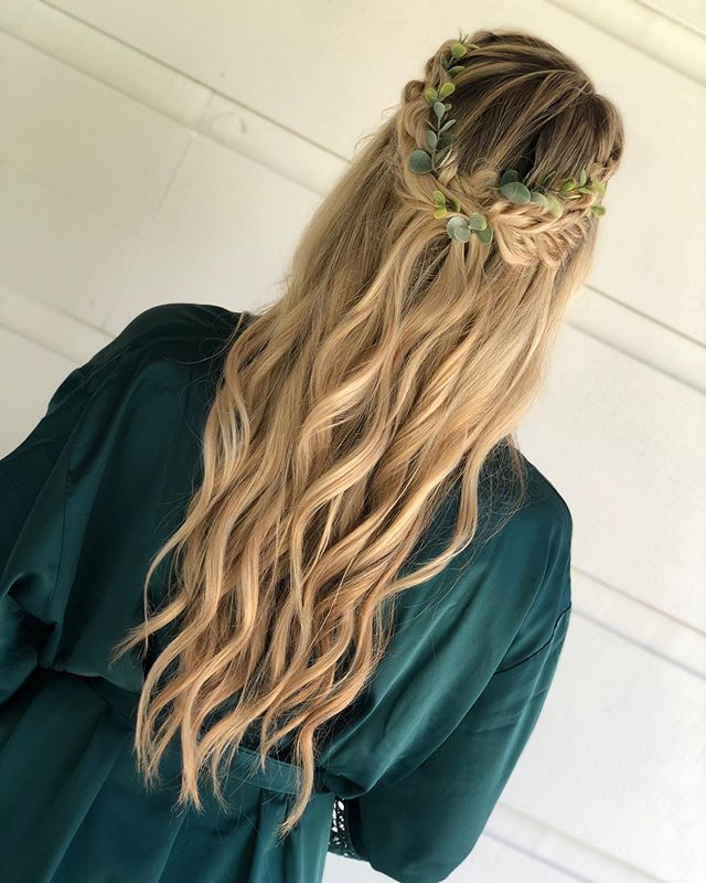 Half-up Fishtail Braids With Leafy Accents