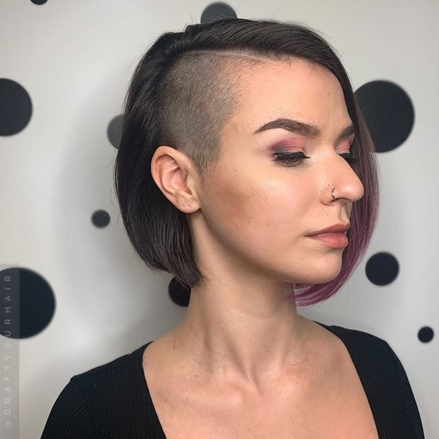 Edgy Bob with Asymmetrical Shaved Temple