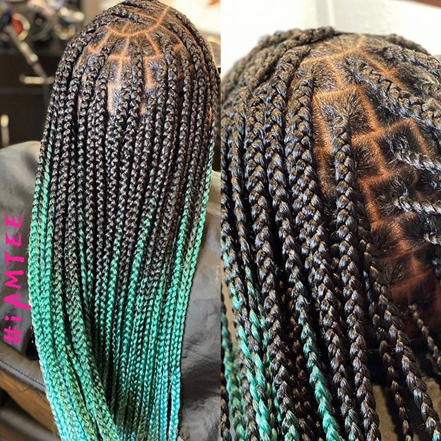 Energetic Iced Mint Staggered Box Braids