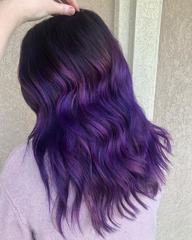 Best Dark Purple Hair Color Ideas with Sleek Layered Pinkish Ombre Waves