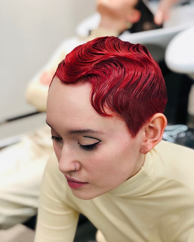 Precious Pixie Cut with Finger Waves and Red Highlights