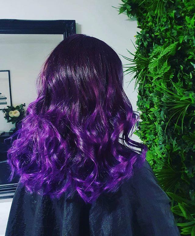 Glimmering Bright Purple Ombre Curls