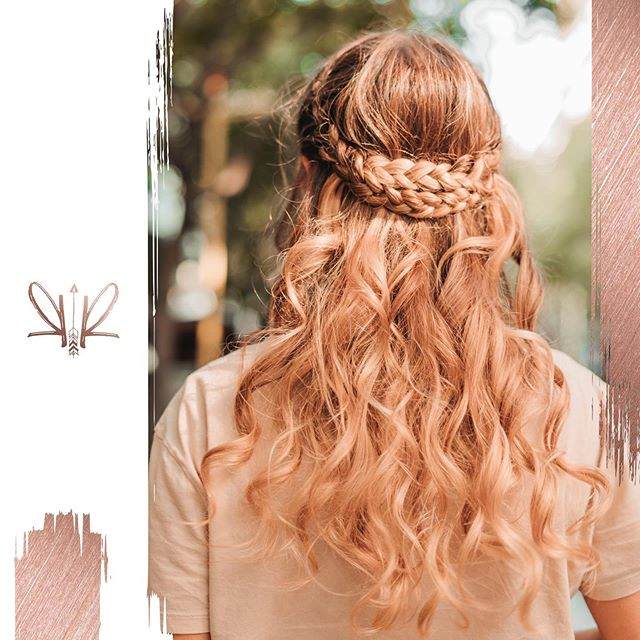 Double Braid Crown With Loose Curls
