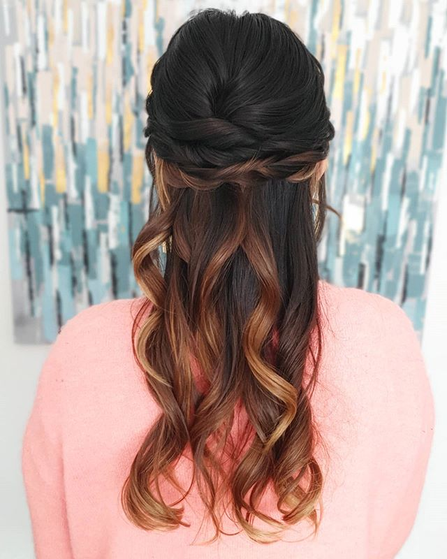 Glossy Twisted Half-up 'Do With Polished Curls