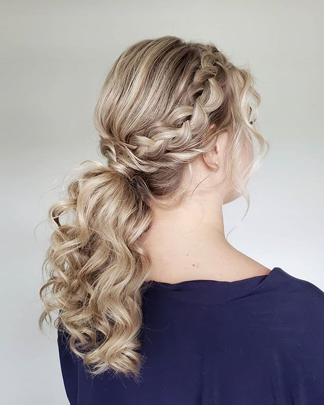 Loose Braided Low Wrapped Ponytail