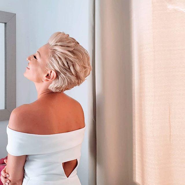 Platinum Blonde Wedge Pixie Cut