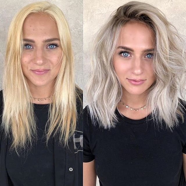 Cool Over-the-Shoulder Haircut in Icy Blond