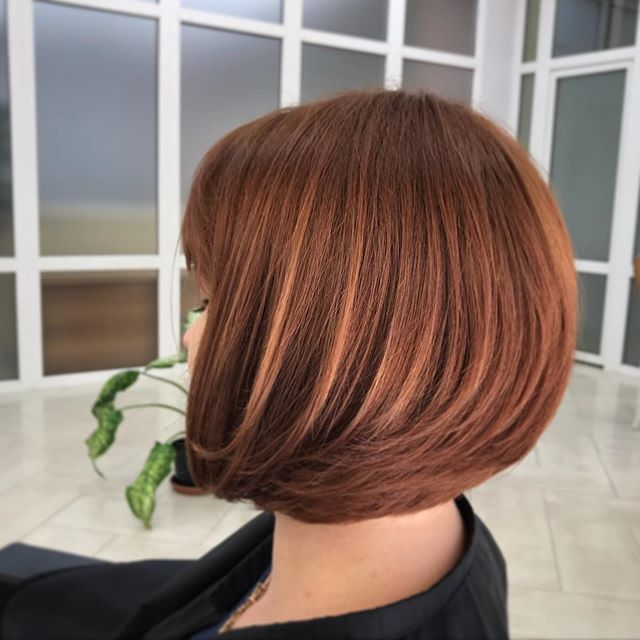 Dark Copper '90s Bob with Fringe and Layers