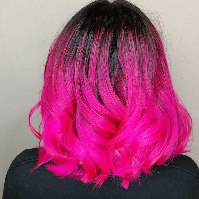 Dip-Dyed Neon Pink with Loose Ringlets