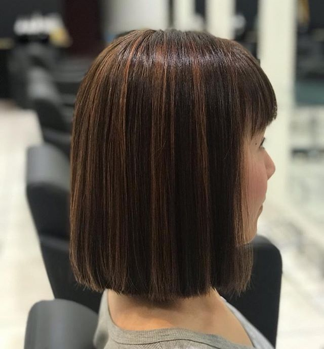 Pin-Straight Over-the-Shoulder Cut with Micro Fringe