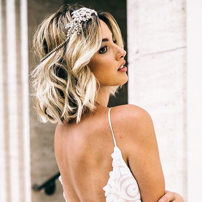 Beautifully Tousled Short Tresses and Gold Hairpiece