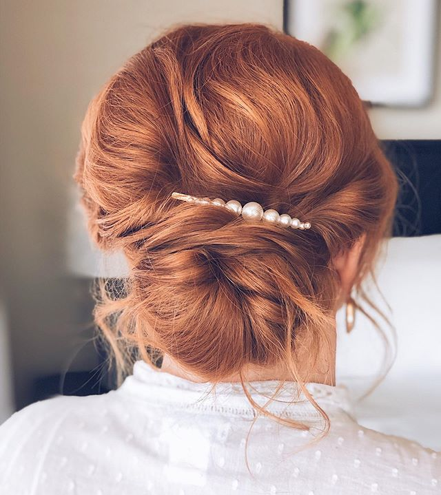 Low Loose Bun With Pearly Accent