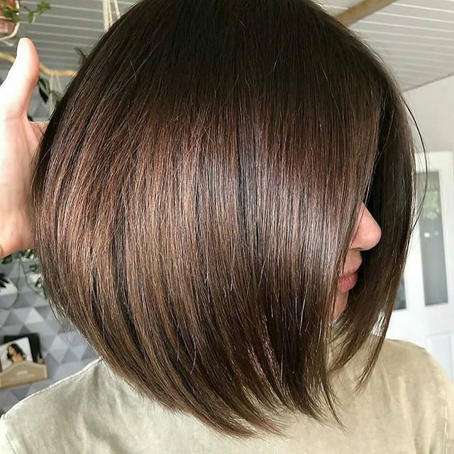 Thick Brown Inverted Bob for the Perfect Boss Look