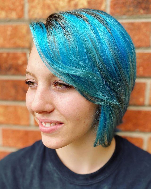 Asymmetrical Blue Bob with Deep Side Part