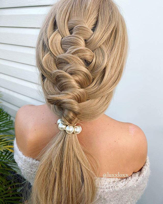 """Knotted, Twisted Faux """"Braid"""" Low Ponytail"""