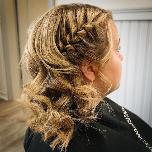 Perky, Side-Swept, Side-Braided Curls
