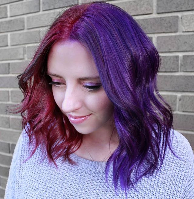 Two-Toned Magenta And Purple Hairstyle