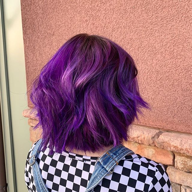Luminous Layered Curly Purple Bob