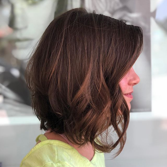Wispy Brunette Lob with Lots of Layers