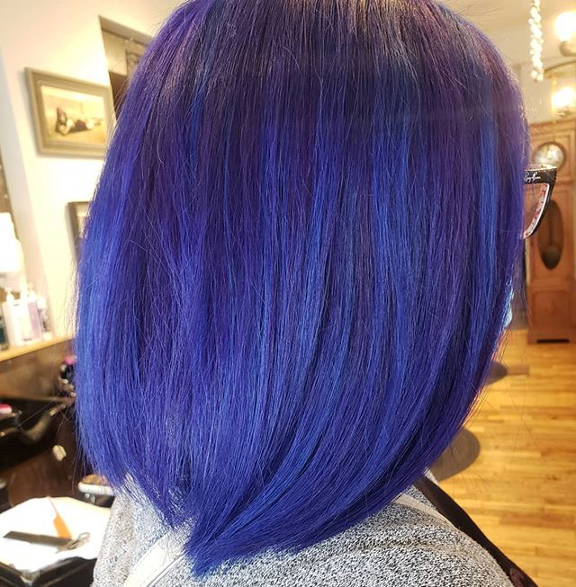Smooth, Straight Sweet Blueberry Highlighted Bob
