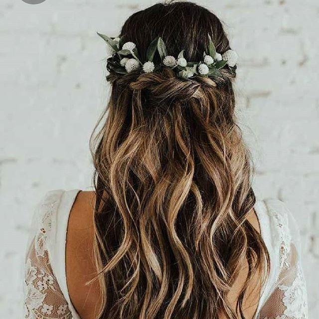 Single Braided Half-up Flowery Hairdo