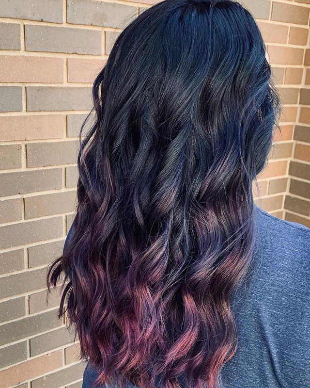 Dark Tumbling Curls With Gentle Magenta Ombre