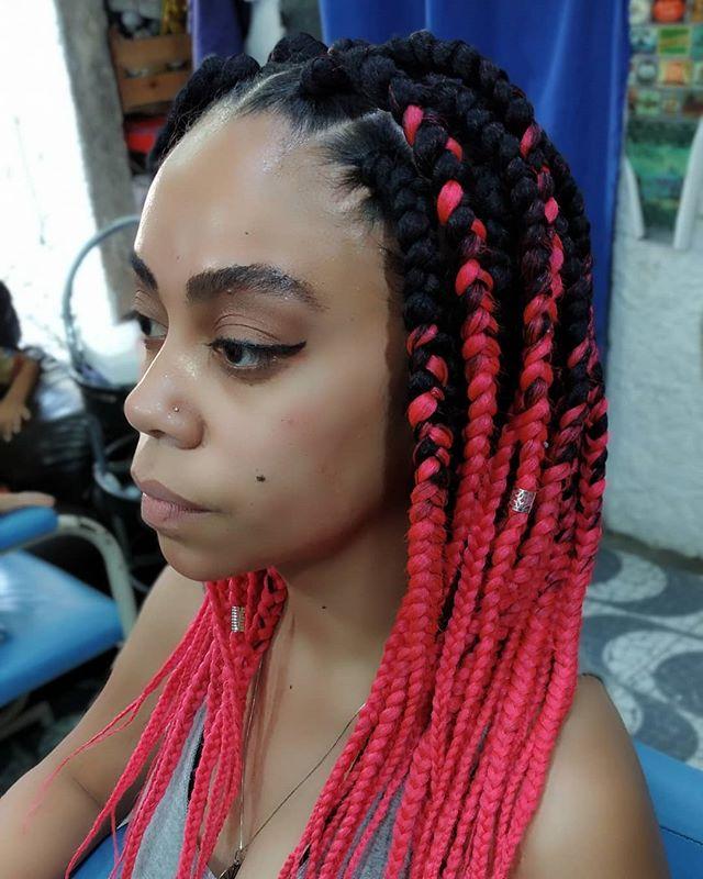 Ombre-esque Shoulder-length Hot Pink Braids