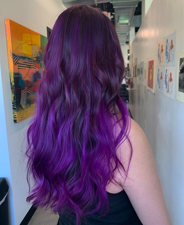 Bright Plum Ombre Highlighted Curls