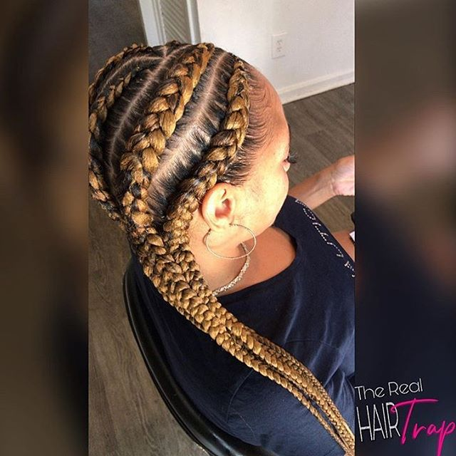 Thick Gold Tinted Cornrow Braids