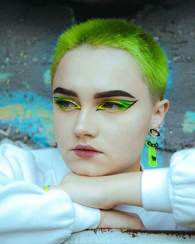 Spiky Lime Green Buzz Cut