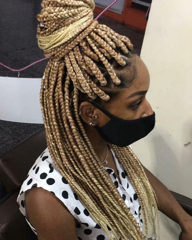 Half-up Caramel Blonde Box Braids