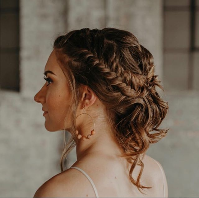 Braided, Loose Pinned-Up Bridesmaid's Hairstyle