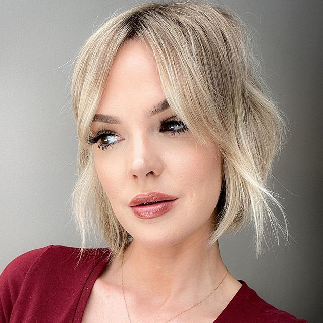 Tousled Chin-Length Cut in Pearly Blond