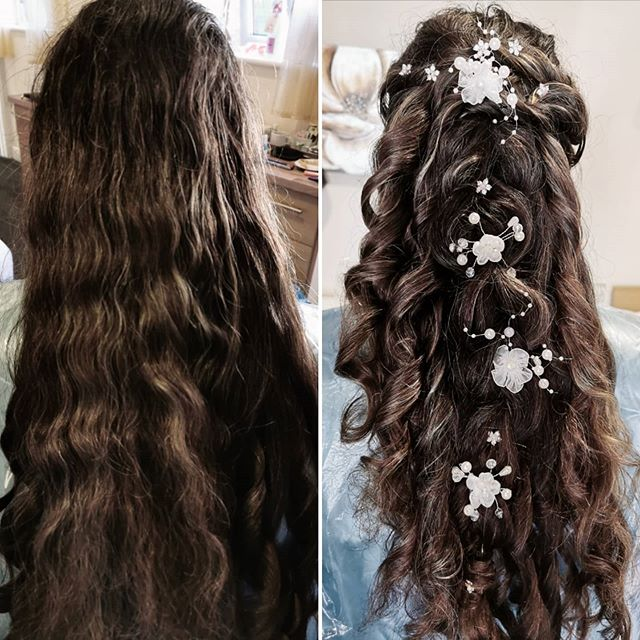 Thick Half-up Curls With Snowy White Accents
