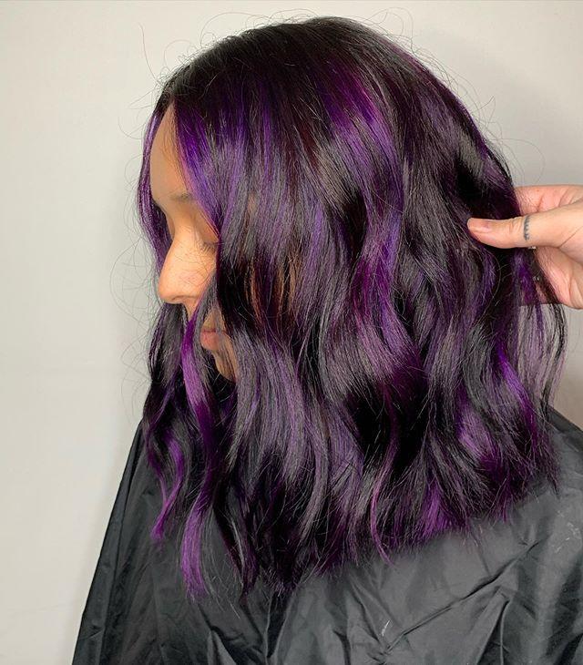 Sleek Dark Brown Interwoven With Bright Purple