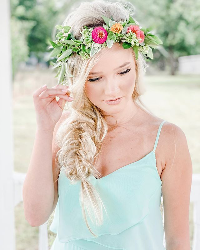 Fishtail Braid With A Glamorous Flower Crown