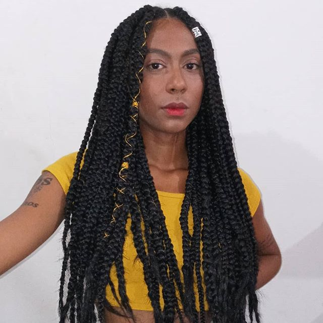 Middle-parted Braids With Asymmetrical Accessories