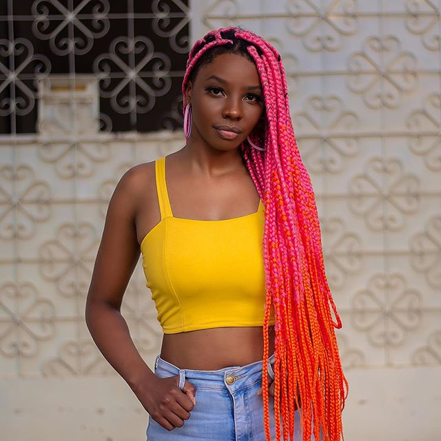 Sweeping, Neon Ombre Big Box Braids