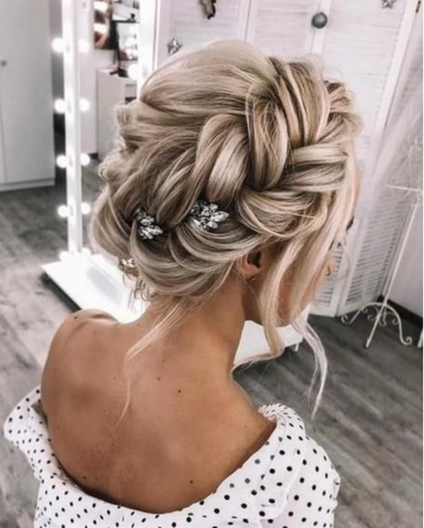 Large Luxurious Off-Center Braided Updo