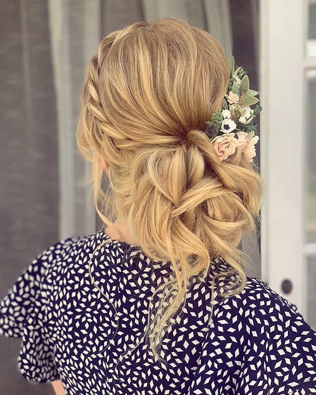 """Loosely Tied Updo With A Braided """"Headband"""""""
