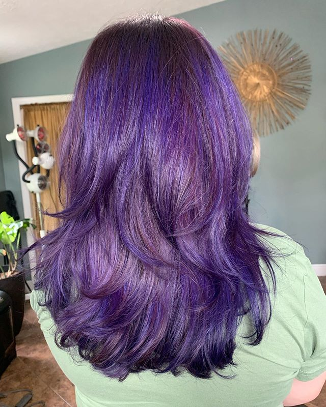 Layered Mid Length Hair With Purple Ombre