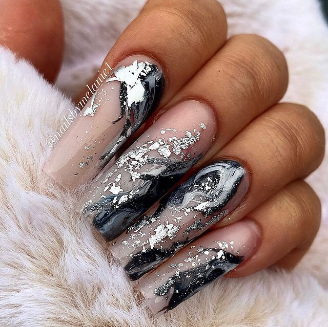 Long Square Nails With Black and Chrome Marbling