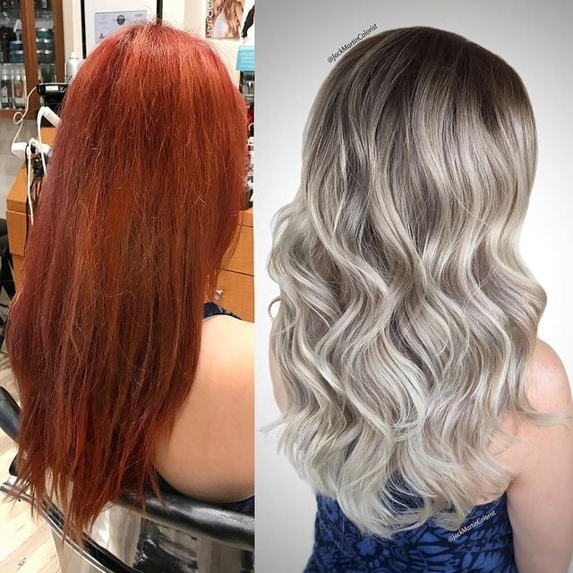 Silvery Blond Streaks with Dark Roots and Waves