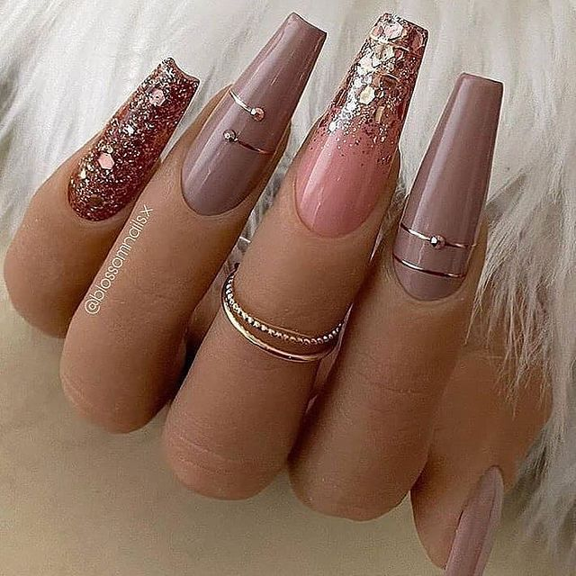 Sexy Square Nails with Rose Gold Shimmer