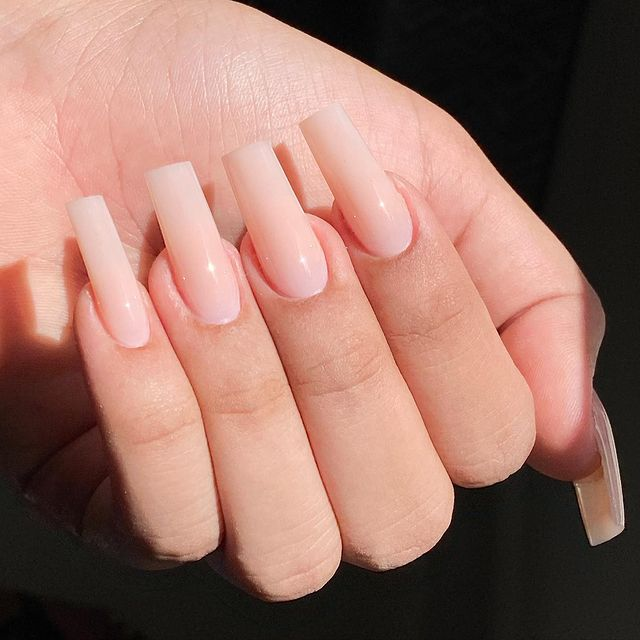 Sensational Pale Pink Manicure with Flat Tips