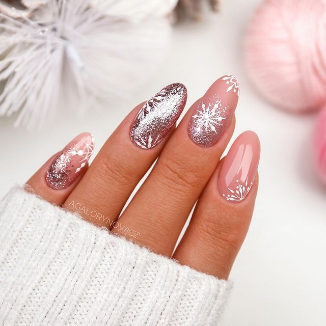 Snowcovered Nude Almond Nails