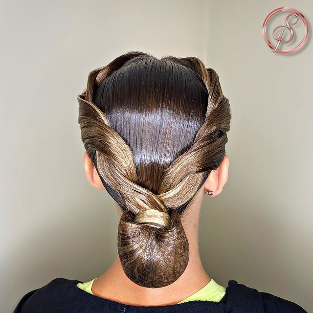Glossy Twist with Low Bun