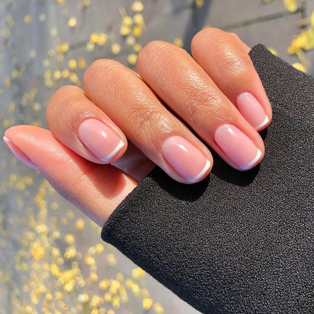 Charming Short Nails with Skinny French Tips